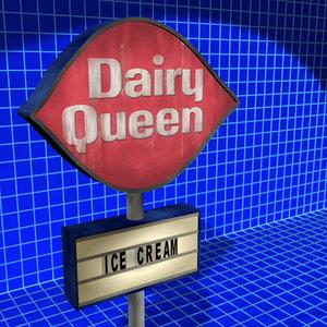 3d model dairy queen sign 01