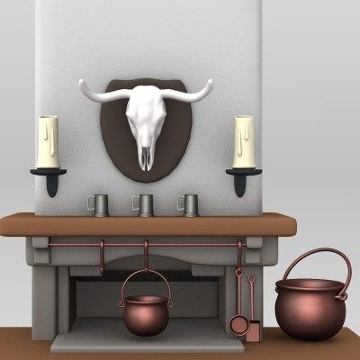 cartoon fireplace chimney 3d model