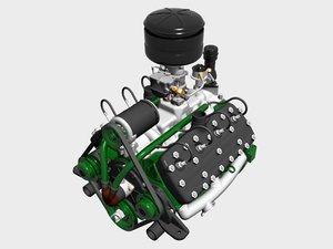 3d early flathead v8 engine model