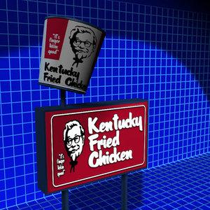 kentucky fried sign 01 3d model