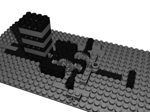 free lego machine gun 3d model