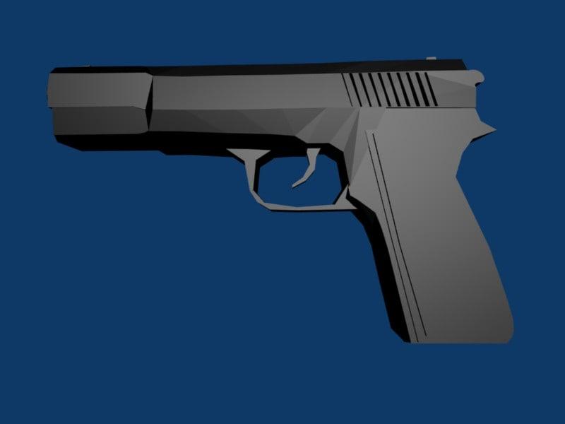 3d model of browning pistol