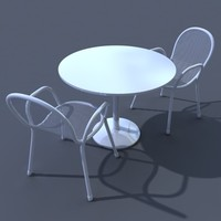 3d model patio chair table