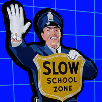 police school zone sign 3d model