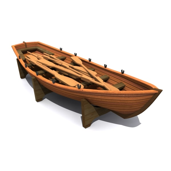 3dsmax wooden life boat