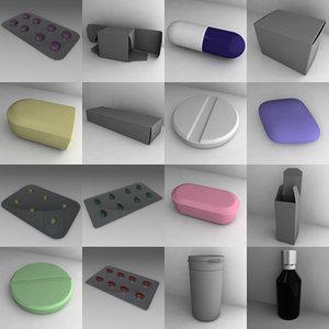 3d pills tablets bottles