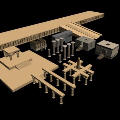 8 egyptian temples 3d model