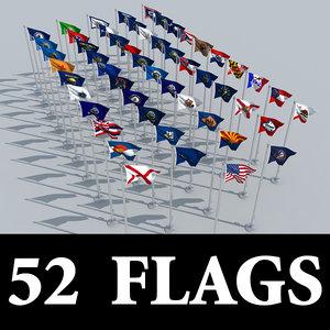 state usa flag 3d model