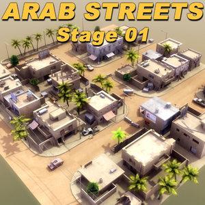 3d model arab streets construction buildings