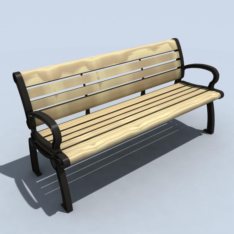3d model cast iron bench