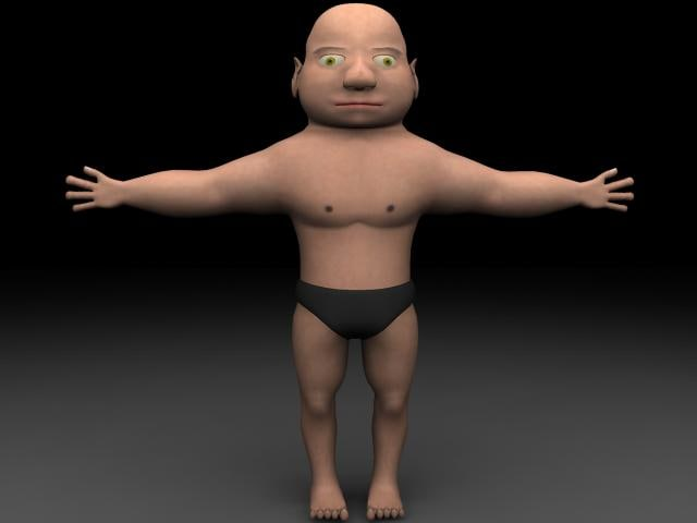 3d model of tiny man