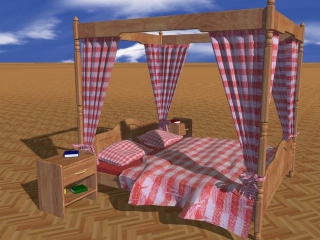 3d model of canopy bed