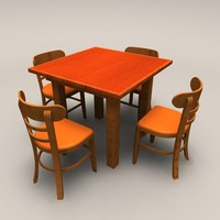 square wood table chairs 3d 3ds