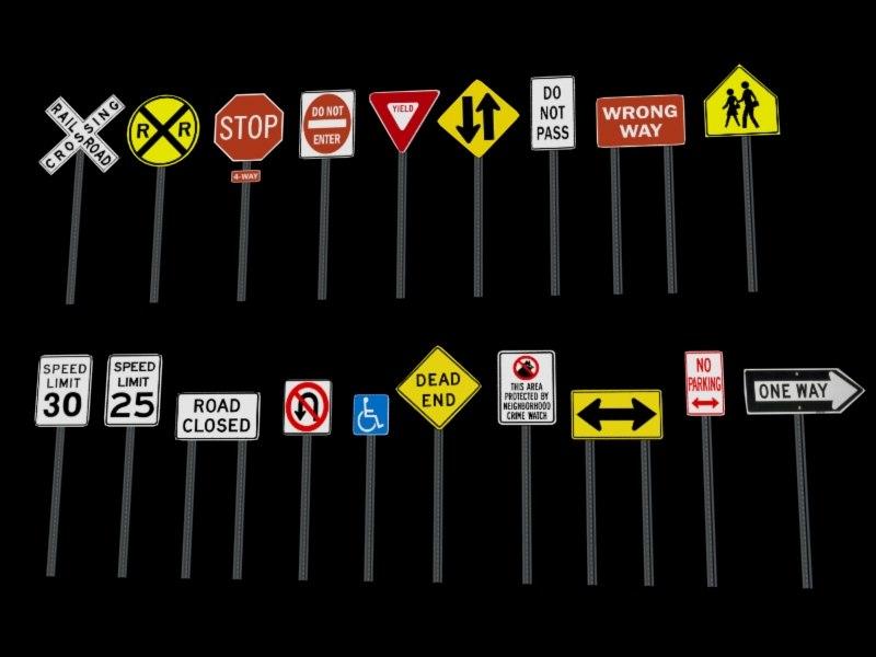 3d model of 20 signs street set