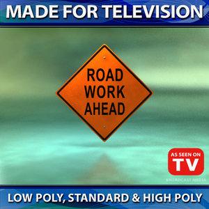 3d model road work ahead sign