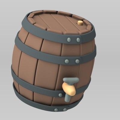 cartoon barrel wine 3d max
