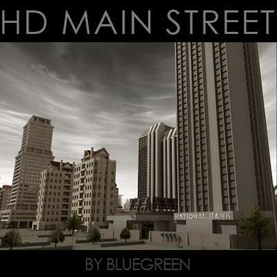 3d definition main street buildings