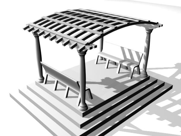 3d model arched pergola