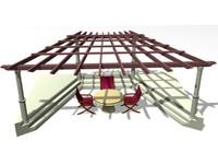 3d model pergola table seats