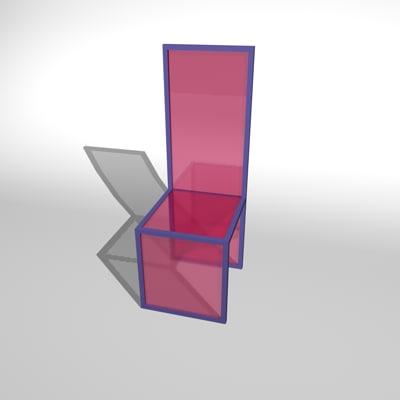 purple chair 3d c4d