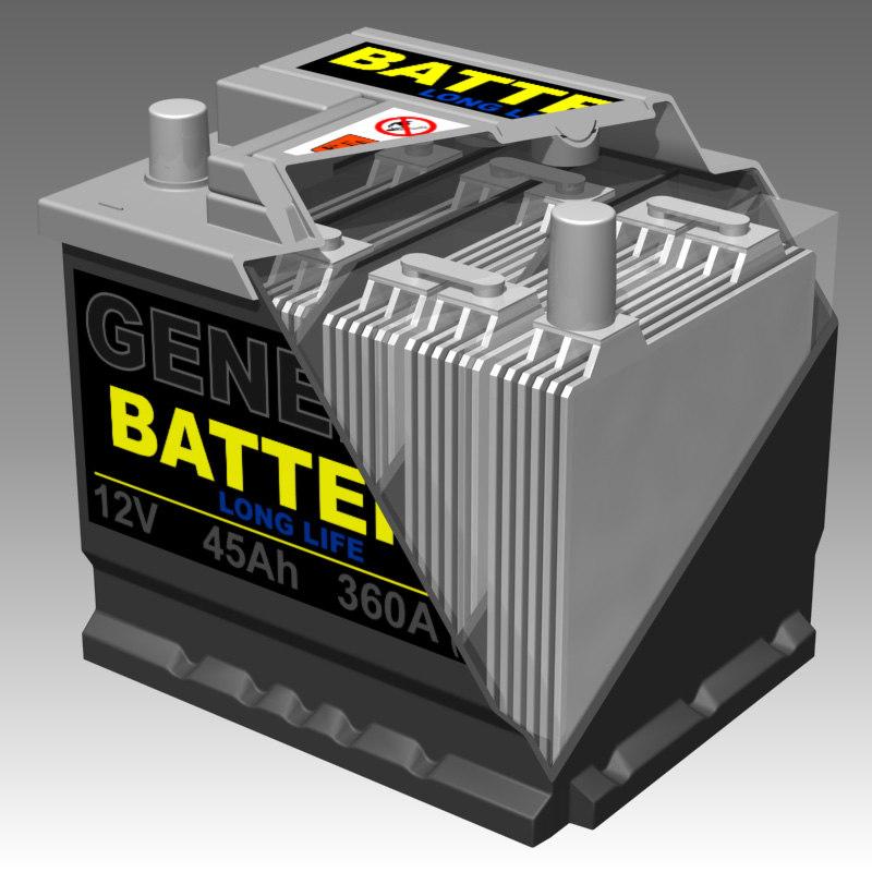 generic car battery interior 3d model