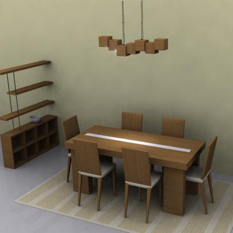 3d modern dinner table model
