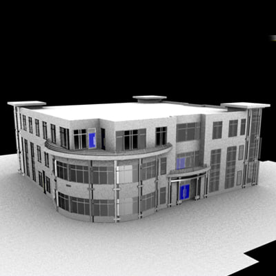 3d building windows hotel