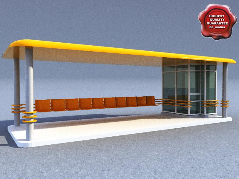 bus stop v2 3d 3ds