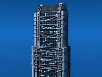 3d model modern office building