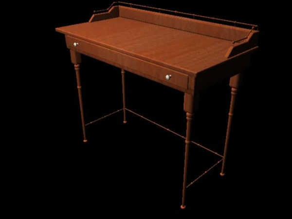 cherry wood writing table 3d model