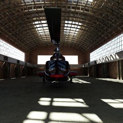 3d model hangar helicopter