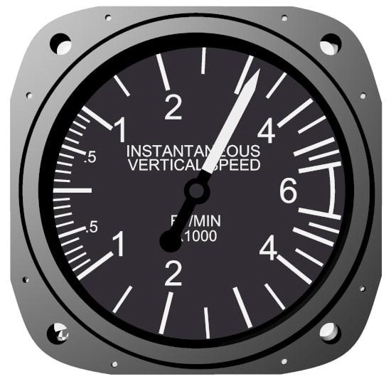 3d model vertical air speed instrument