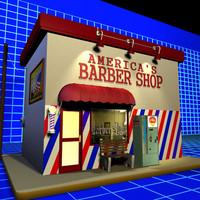 3d model barber shop 01