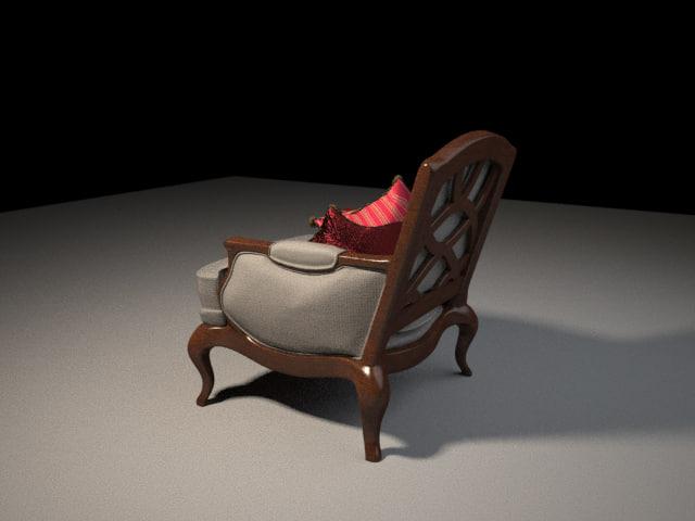 3d model chair zipped