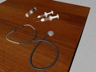 3d model medical syringes stethoscope