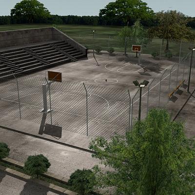 3d model outdoor basketball arena ball