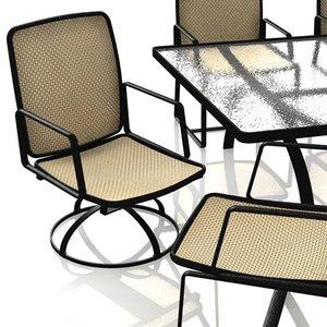 3d pool patio furniture swivel model