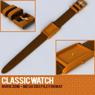 3d model classic watch