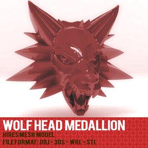3dsmax wolf head medallion