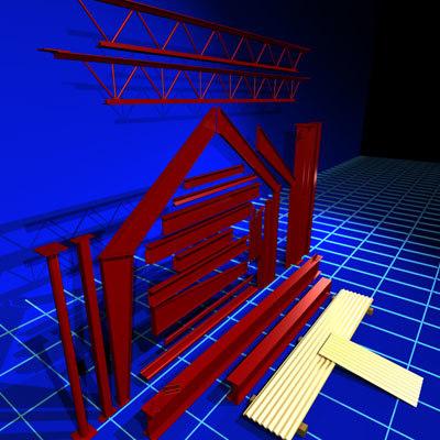 steel structure parts 01 3ds