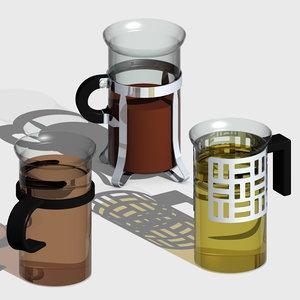 tea cups 3d 3ds