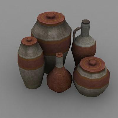 maya vases rpg low-poly