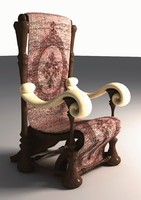 big antique chair 3d model