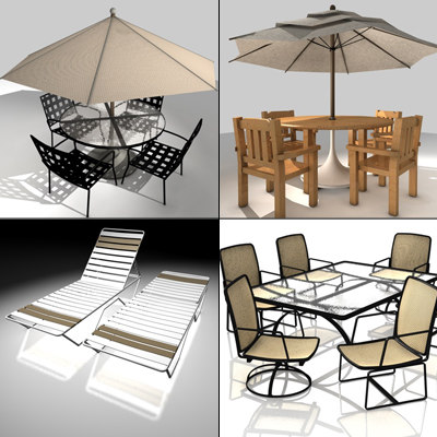 4 patio furniture sets 3ds