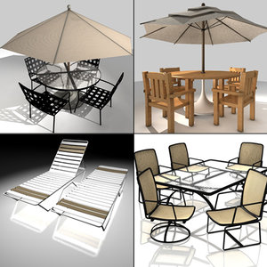 4 patio furniture sets 3ds