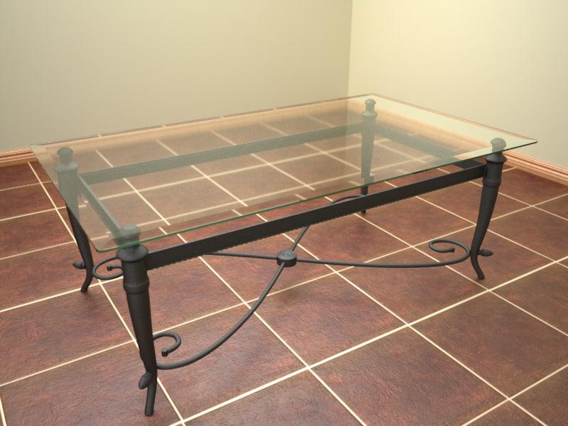 3d glass metal coffee table