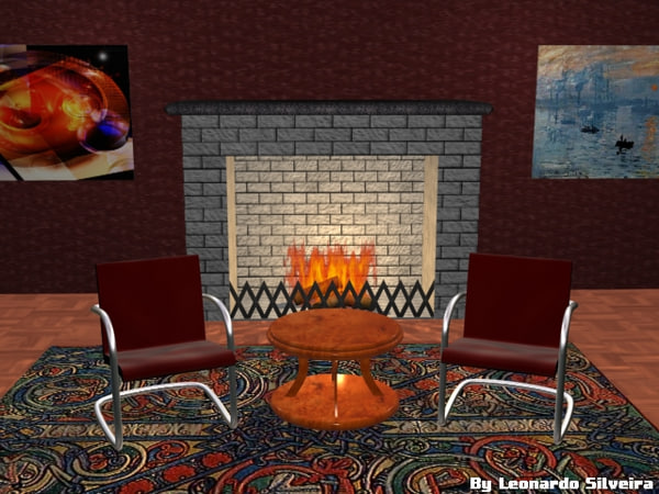 3d living room fireplace model