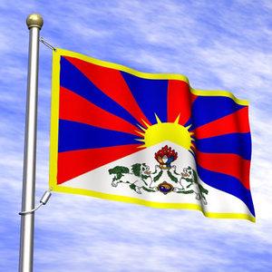 flag tibet 3d 3ds