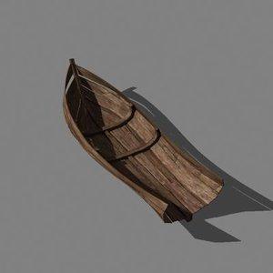 old wooden crashed boat 3d obj