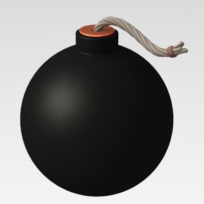 3d model cartoon bomb